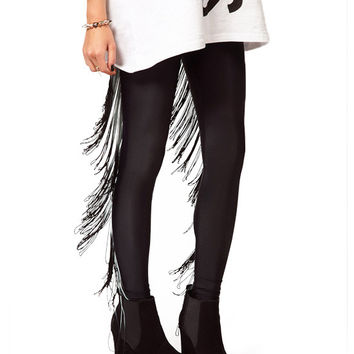 Black Gradient Fringed Leggings