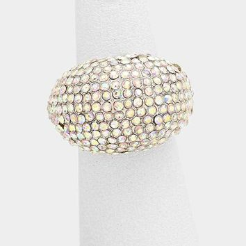 Dome Crystal Pave Fashion Stretch Ring