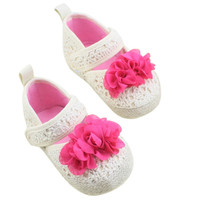 Toddler Baby Kid Girl Flower Princess Shoes Soft Sole Prewalker Crib Shoes 0-18M NW