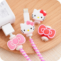 Kawaii Hello kitty USB cable Earphones Protector.Cartoon Cover for iPhoneSE/5s 6/6s Android Cable Data Line Protection Sleeve