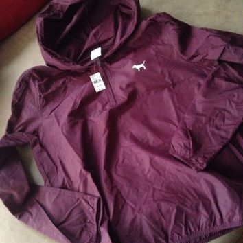 Victoria's Secret Pink Maroon Lightweight Windbreaker Jacket Pullover M L