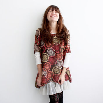 ON SALE Box T - Modern Floral Chiffon, rayon jersey sleeves - One Size