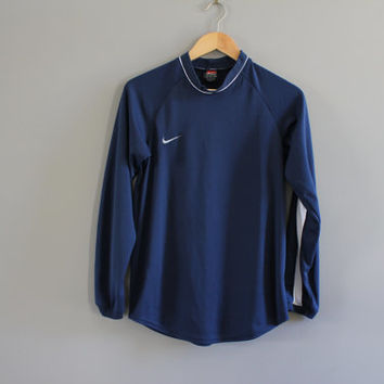 US Free Shipping Nike T-shirt Nike Sweatshirt Dark Blue Pullover Light Weight Long Sleeves Activewear Vintage Nike Retro 90s Size XS #T155A