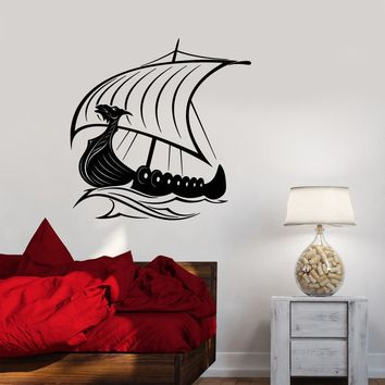 Vinyl Wall Decal Viking Ship Sailors Sea Waves Stickers (2390ig)