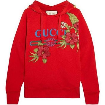Gucci Women Fashion Embroidery Top Sweater Pullover Hoodie