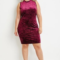 Plus Size Mock Neck Velvet Dress