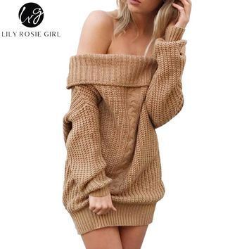 Lily Rosie Girl Khaki Sexy Off Shoulder Sweater Dress Women Slash Neck Long Sleeve Gray Pullovers Autumn Winter Casual Jumpers