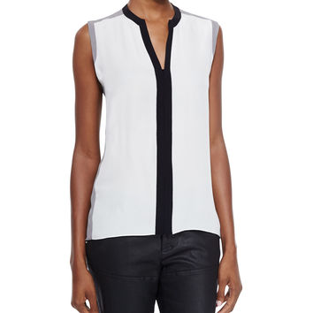 Karrie Sleeveless Silk Colorblock Blouse, Size:
