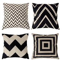 45*45CM  Pillow Cover Vintage Skull Linen Cotton Throw Pillow Case For Home Accessories Free Shipping