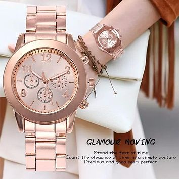 Hot Unisex Rose Gold & Silver, Stainless Steel Quartz Wristwatches