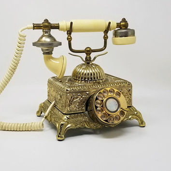 Vintage Gold Baroque Monarch Square French Phone  Non Working Rotary Phone