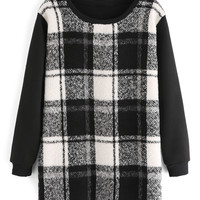 Plaid Paneled Sweatshirt Dress