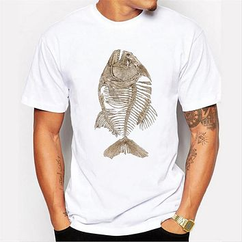Arrival Men's Top T-Shirt Short Sleeve Round Neck Tops Hipster Fish bone Printed T Shirts