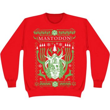 Mastodon Men's  EOS Holiday Crewneck Sweater Sweatshirt Red
