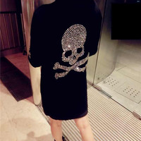 Black Skull Diamond Studded Knit Sweater