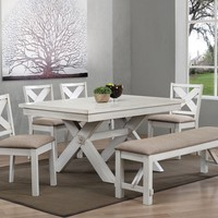 Acme 74660-62-63 6 pc Apollo country antique white finish wood dining table set