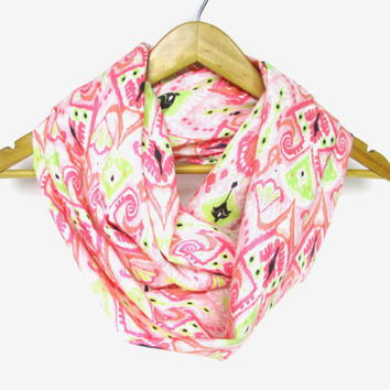 Pink Lemonade Ikat Infinity Scarf, Ikat pattern fabric, Ikat scarf, geometric print scarf, spring scarf, mother's day gift
