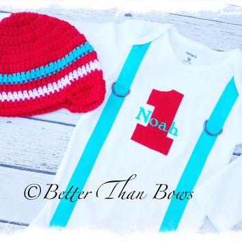 BOYS FIRST BIRTHDAY Bodysuit with Beanie-Aqua and Red Birthday Set-Personalized Birthday Bodysuit-Cake Smash-Winter Birthday