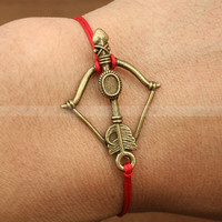 Adjustable Katniss bow charm bracelet inspired by The hunger games