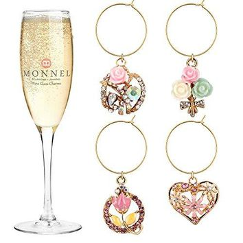 P409 Cute Pink Crystal Heart Flowers Wine Charms Glass Marker for Party with Velvet Bag Set of 4