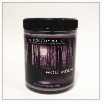 Wolf Moon musk scented soy candle 6 oz: unique candle gift idea