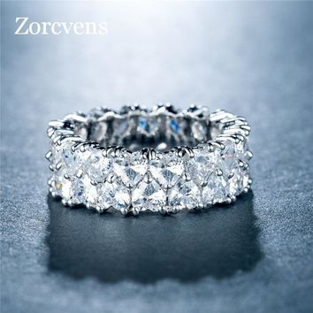 ZORCVENS Silver Color Stackable Ring Love Forever Heart Finger Ring Women Female Engagement Ring Jewelry