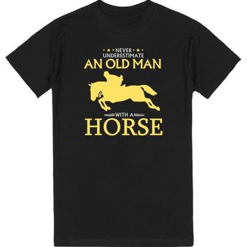 OLD MAN WITH A HORSE T-SHIRT