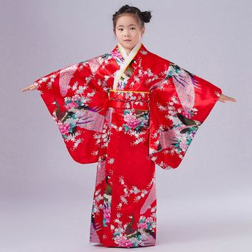 New Arrival Japanese Girl Kimono Dress Elegant Flower Kid Girl Dance Costumes Children Vintage Yukata 120-150cm