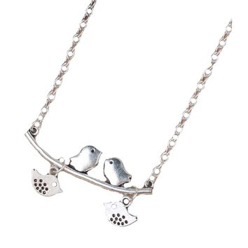 Silver-Color Mother / Child Birds Branch Necklace