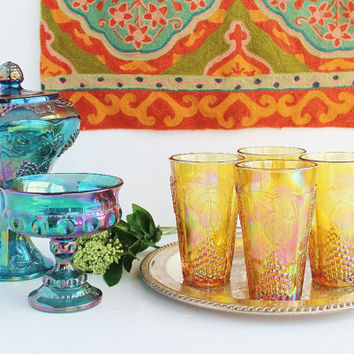 Indiana Carnival Glass Tumblers Iridescent Amber Gold / Four (4) Harvest Gold Grape and Leaf Glasses Coolers (14 oz) / Lemonade Tea / 1970s
