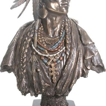 Indian American Woman Female Squaw Portrait Bust Large Statue 20.75H