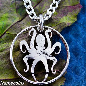 Octopus Necklace, Nautical Jewelry, Kraken hand cut Quarter