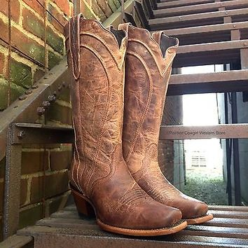 Nocona Ladies' Distressed Tan Brown Narrow Square Western Cowgirl Boots NL5308