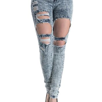 Acid Wash Destroyed Skinny Fit Jeans RJL346 - D4F