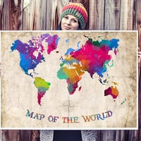 WATERCOLOR MAP - World Map Watercolor Painting. Watercolor poster. Handmade poster.