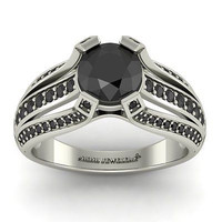 ANTIQUE 2.25CT BLACK ROUND 925 WHITE STERLING SILVER ENGAGEMENT AND WEDDING RING