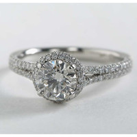 Cubic Zirconia Engagement Ring- Customizable Halo with Split Band and Prong Accents