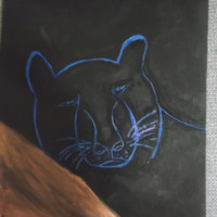 Blue and Black Panther Football Colors Acrylic Painting Football 2016