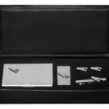Saw Business Card Case, Money Clip, Cufflinks and Tie Bar Gift Set
