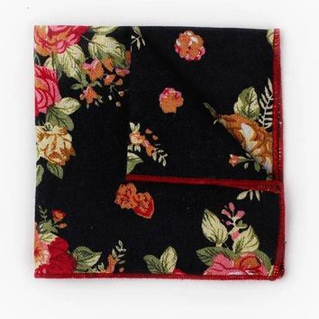 Black Floral PocketSquare,Wedding Handkerchief, Boyfriend Gift Men's Gift Anniversary Gift for Men Husband Gift Wedding Gift For Him Grooms