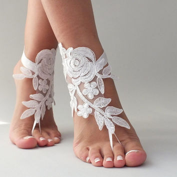 Barefoot sandal, white or ivory  barefoot sandles, Lace shoes,  barefoot sandal, Beach wedding, Destination wedding, Bridal Footless shoes