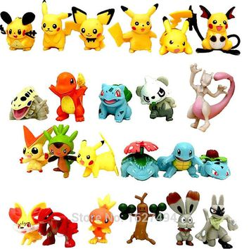 24pcs Pocket Monsters Pokeball Minifigures Pokebola Pikachu Action Figures Collectibles Dolls Figurines Kids Toys for boys Girls