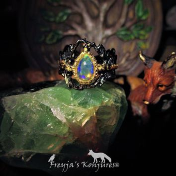 Vibrant Ethiopian Opal Black Rhodium & Gold Silver Butterfly Ring - Nature Magic, Love, Water Magic, Safe Travels, Spiritual Invisibility