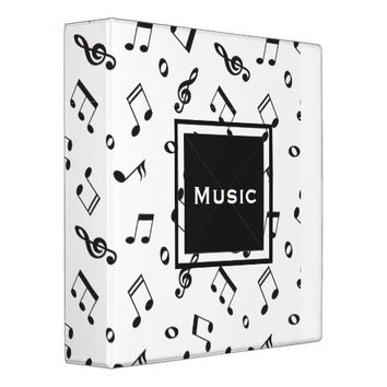 Musical Notes Black and White 3 Ring Binder