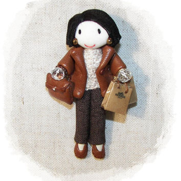 Doll Brooch Leather Coat Brown Pants Shopping Bags 3.15 in - 8 cm Customizable