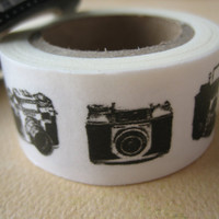 Washi Tape - Double Roll - Black and White Camera and Film Reel
