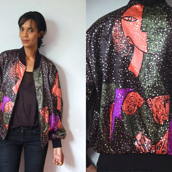 Vtg Picasso Gold Black Olive Coral Purple Print Zip Up Bomber Jacket