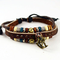 Leather bracelet,womens brown leather charm bracelet with  Wooden Beads and Bronze Horse (B65)