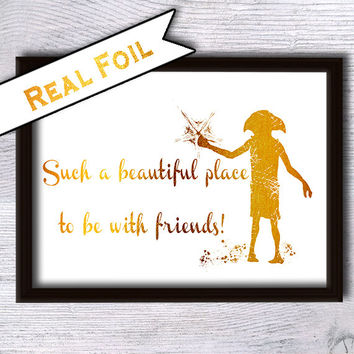 Harry Potter print Dobby art poster Real gold foil decor Harry Potter poster Harry Potter real foil art Home decoration Kids room decor G8