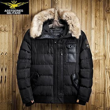 Thick Warm Winter Leisure Cotton-Padded Down Jacket Men Long Hat Detachable Coat Parkas Genuine Fur Big Size